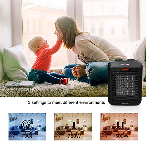 Portable Space Heater Indoor, 1500W/750W Electric Ceramic Heater with Thermostat, Heat Up 200 Square Feet in Minutes, Safe and Quiet for Office Home Room Floor Under Desk Desktop, Black