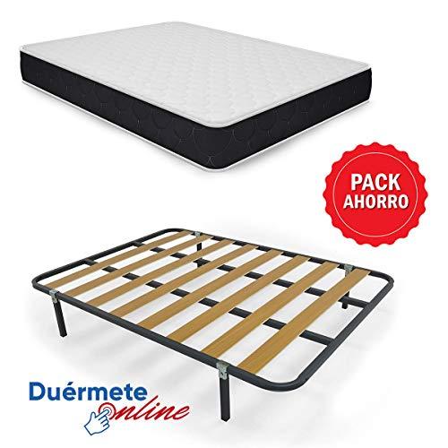 Duérmete Online Pack Ahorro Cama Completa con Colchón Viscoelástico Pocket Visco Reversible + Somier Basic + 4 Patas, 105x190