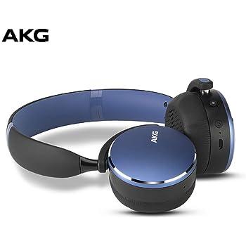 AKG Y500 On-Ear Foldable Wireless Bluetooth Headphones- Blue (US Version) (Renewed)