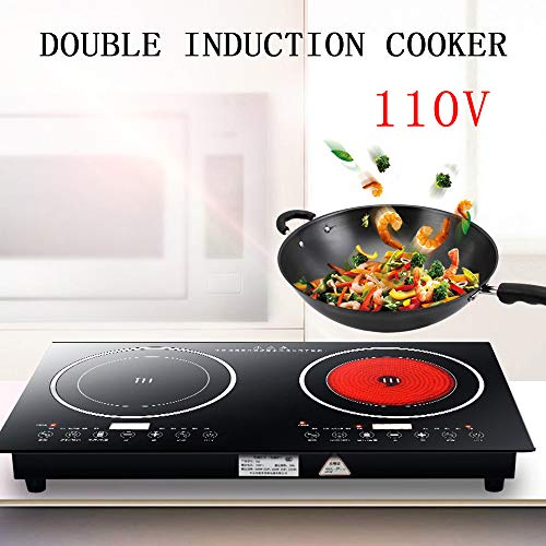 For Sale! RanBB Dual Induction Cooktop, 2200W Portable Electric Dual Induction Cooker Cooktop Counte...