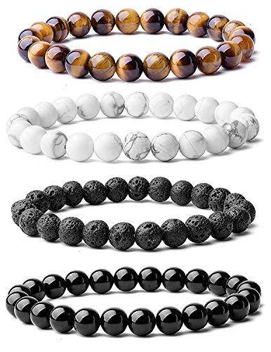 Arihant Handicraft Tiger Eye and Howlite Lava Stone and Black Tourmaline Stones Unisex Bracelet Combo Pack