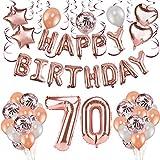 HOWAF Decoración de cumpleaños 70 en Oro Rosa para Mujeres, 59 Piezas Feliz cumpleaños Decoración Globos Guirnalda Banner 70 Años Globos de Confeti y Estrella Corazon Globos de Aluminio