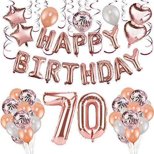 HOWAF Rose Gold 70. Geburtstag deko für Frau und Männ, 59 Stück Happy Birthday Girlande Banner Luftballons Set Helium Folie Herz Ballon für 70 Geburtstag Dekoration