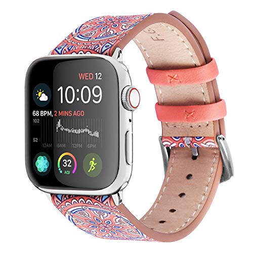 Fullmosa Correa Apple Watch de Cuero de 6 Colores, Correa iWatch de Estampada, Series Galeri Compatible para Apple Watch Series 3/2/1, Impresión, 38 mm