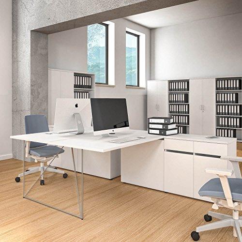 Preisvergleich Produktbild 2er Team-Schreibtisch AIR mit integrierten Sideboards Gruppenarbeitsplatz Bench Doppel-Arbeitsplatz,  Gestellfarbe:Weiß