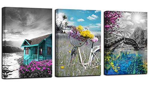 """Canvas Wall Art Cabin Teal Purple Painting Modern Landscape Lake Flowers Bicycle Countryside Pictures, Old Bridge Blue Poster Prints Artwork 12""""x16""""x3 Panels for Bedroom Bathroom Spa Salon Kitchen Home Office Decor"""