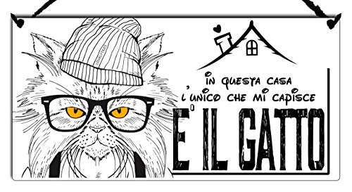Targa Gatto in Questa CASA L'UNICO Che Mi CAPISCE è Il Gatto Cartello Idea REGALLO
