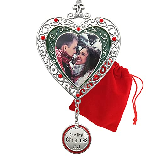 BANBERRY DESIGNS Our First Christmas Ornament 2021 - Silver Filigree Heart Shaped Photo Ornament – Xmas Picture Ornaments - Red Storage Bag Included