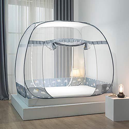 EODPOT Moskitonetz für Bett, war großes und luftiges Netzzelt, faltbares Jurtenmückenzelt NET POP UP Anti-Mückenstiche Baby Erwachsene Reisen-Grey-S
