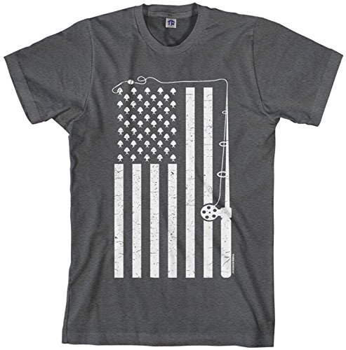 Threadrock Men's Fishing American Flag T-shirt XL Dark Heather