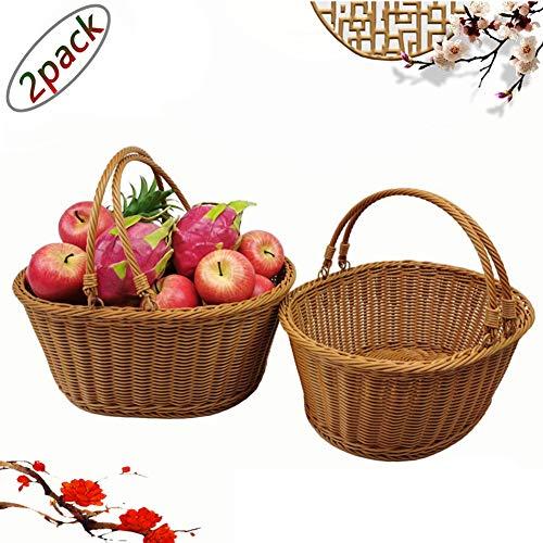 YAYADU Corbeilles De Rangement, Rotin Tisser Achats Ovale De Plein Air Fruit Légume Style Pastoral Pique-Nique, 2 Pack De (Color : A, Size : 41x31x18cm)