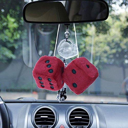 Winomo Auto-Rückspiegel-Dekoration, Würfel zum Aufhängen, rot.