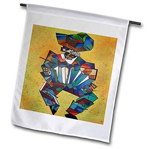3dRose FL_46760_1 Akkordeonspieler, Blau, Konzertina, Kubismus, Lateinamerika, Melodeon-Gartenflagge, 30,5 x 45,7 cm