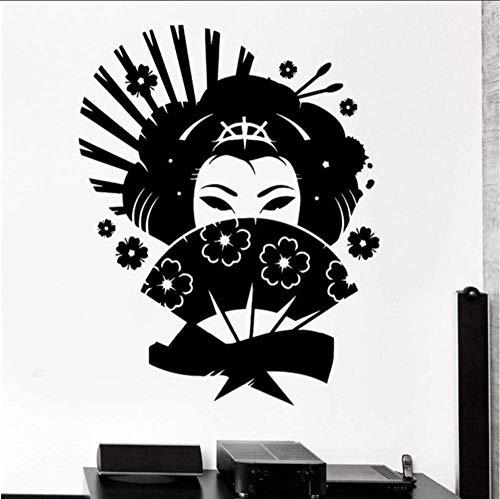 Calcomanía De Pared De Estilo Japonés Geisha Oriental Mujer Fan Girl Living Room Decoración De La Pared Interior Vinilo Sticker Art Mural 42 * 51Cm
