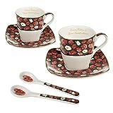 Queen Isabell Espresso Porcelana Set para dos personas, tazas con platillos y cuchara, idea de regalo 2 x 80 ml