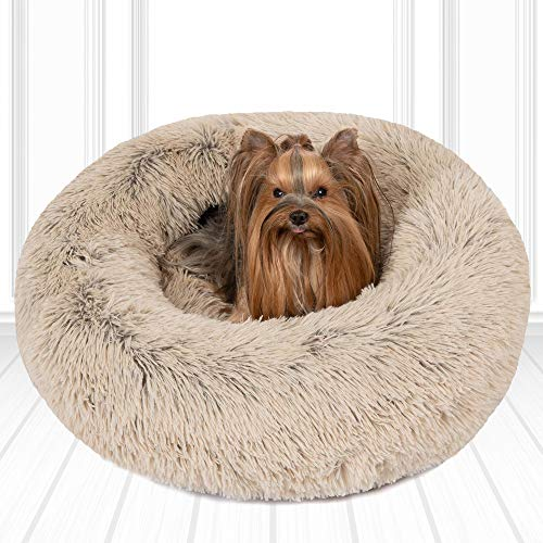 Friends Forever Luxury Pet Calming Bed for Dogs | Faux Fur...