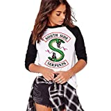 Costura en Blanco y Negro Moda Riverdale-South Side Serpents Camiseta Estampada de Manga Larga para Mujer Cuello Redondo Top Comoda Primavera y Otoo