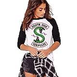 Costura en Blanco y Negro Moda Riverdale-South Side Serpents Camiseta Estampada de Manga Larga para Mujer Cuello Redondo Top Comoda Primavera y Otoño