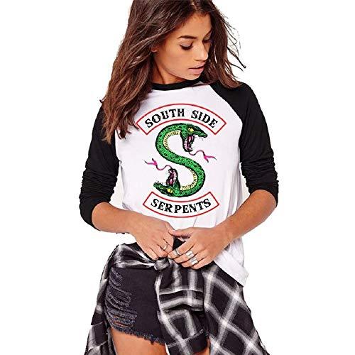 Printemps et Automne Imprimé T-Shirt à Manches Longues Femme Imprimé Top Mode Casual Doux et Confortable Riverdale-South Side Serpents Chemise Tee Shirt