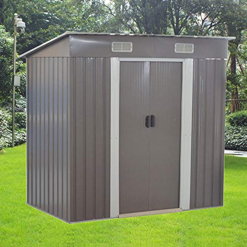 6 X 4 ft Metal Garden Shed Steel Sheds Outdoor Garden Tools Storage Shed(Gray)