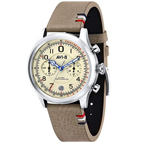 AVI-8 Men's Flyboy 42mm Grey Leather Band Steel Case Quartz Watch AV-4054-01
