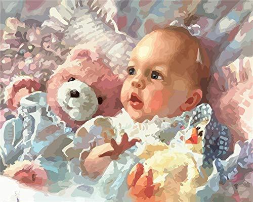AdoDecor Imágenes de Bricolaje por números Pintura al óleo para bebés Arte de Regalo Pintura por números Kits de Figuras pintadas a Mano para decoración de Habitaciones 30x40cm con Marco