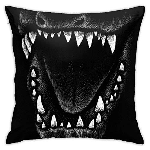 Funda de almohada cuadrada decorativa de dinosaurio blanco y negro de 45,7 x 45,7 cm para sofá o sofá
