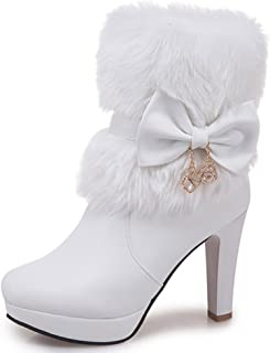 Women's Elegant Fluffy Fur Zip Up Chunky High Heeled Pointy Toe Ankle Boots with Bows