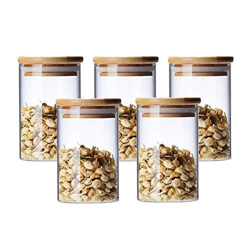 Tarros de cristal de 300 ml con tapa de bambú y arandela de silicona para especias, haricots, caramelos