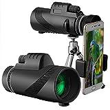 40 x 60 HD Monocular Impermeable monoculo telescopio portatil para Viajes de Caza Senderismo Turismo Juego de Pelota, con Adaptador de Soporte para Smartphone y trípode (Negro, 1PC)