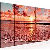 Runa Art Cuadro XXL Puesta De Sol Playa 200 x 80 cm Rosado Rojo 5 Piezas - Made in Germany - 607955b