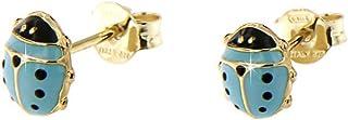 forme di Lucchetta per Bambina - Orecchini Oro Giallo 9 carati con Coccinella Blu Portafortuna - Made in Italy Certificato...