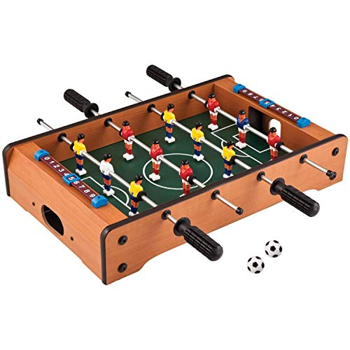 brand conquer table- portable fully wooden mini table football / soccer game set with two balls and score keeper for adults and kids length-51cm,widh-31cm, hight-10.5cm-Brown