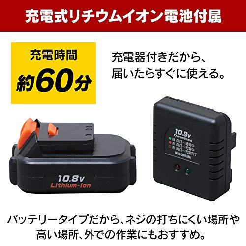 アイリスオーヤマ電動ドリルドライバー充電式軽量コードレスLEDライト正逆転切替JCD28充電器・バッテリー・ビット10種付き