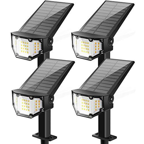SEFON Solarleuchte Garten, 30 LED Solar Gartenleuchte IP67 Wasserdicht LED Solarstrahler für außen Wandleuchte 2 Helligkeiten Solarlampe Außen für Bäume Sträucher Gartenweg Kalt&Warm 4 Stück