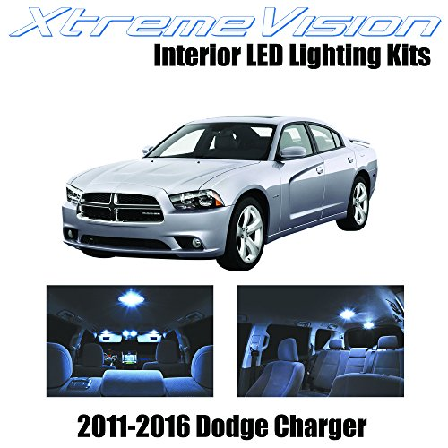 XtremeVision Interior LED for Dodge Charger 2011-2016 (16 Pieces) Cool White Interior LED Kit Package + Installation Tool
