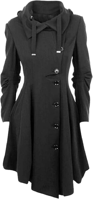 TymhgtCA Womens Slim Woolen Coat Irregular Hem Outwear Windbreaker