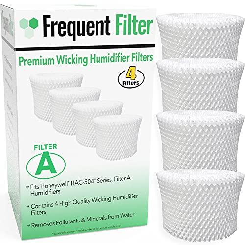 Frequent Filter - Compatible Honeywell Germ Free Cool Mist Wicking Humidifier, Filter A. Fits HCM 350, HCM350w, HCM350, Quietcare Tower & More. Replacement HAC 504, HAC504, 504AW - (Pack of 4)