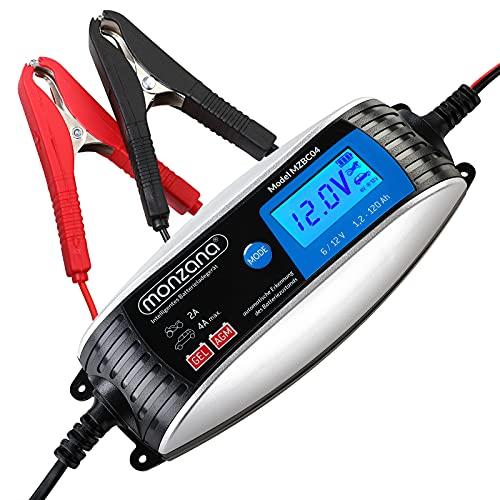 Monzana Cargador de batería automático para Coche 6V 12V con Pantalla LCD 7 Niveles de Carga