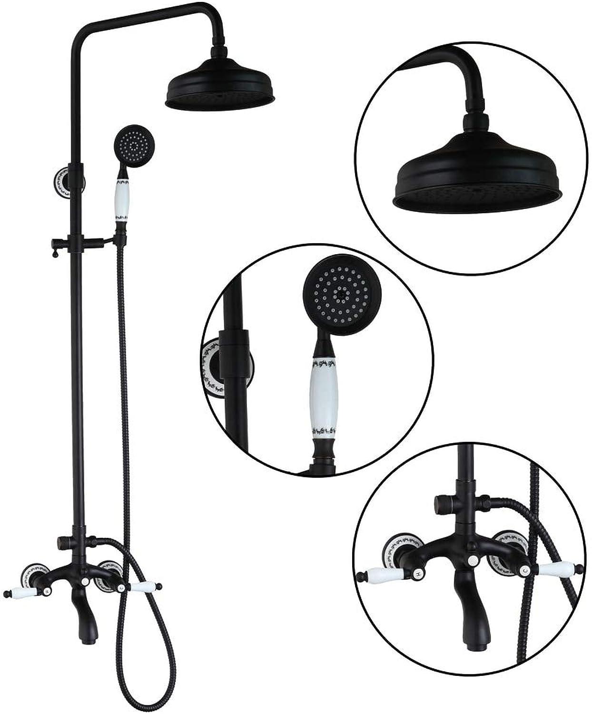 50267 New Bathroom Oil Rubbed Bronze Swivel Round 8  Rainfall Shower Head +Heldhead Shower Faucet Set Bathtub Mixer Tap Torneira,schwarz