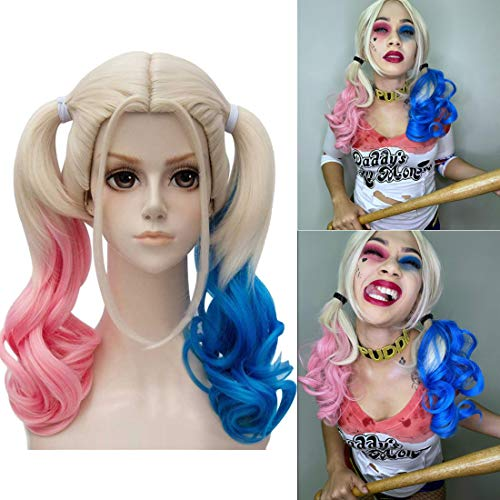 Pink and Blue Cosplay Wig for Women, Girls, Kids, Daughters, Curly Ponytails Cosplay Wig, Halloween Costume Party Middle-Length Wig