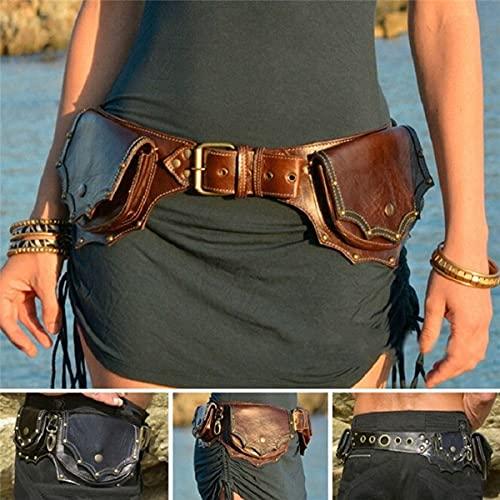 WFTD Mittelalterliche PU-Münztasche, Retro-Leder-Gürteltasche, Renaissance Erwachsene Viking Knight Pirate Cosplay Leder Vintage Tasche Gürtel Kleidungstasche, Outdoor-Sporttasche, verstellbar,Braun