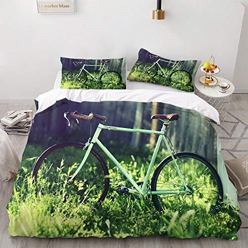 Funda Nordica Cama 135 Bicicleta de Césped Juego de Ropa de Cama, 1 Funda de Edredón 230x220 cm y 2 Fundas de Almohadas 50x80 cm con Cierre de Cremallera