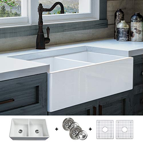 LUXURY 33 inch Modern Farmhouse Ultra-Fine Fireclay Kitchen Sink in White, 50/50 Double Bowl, Flat...