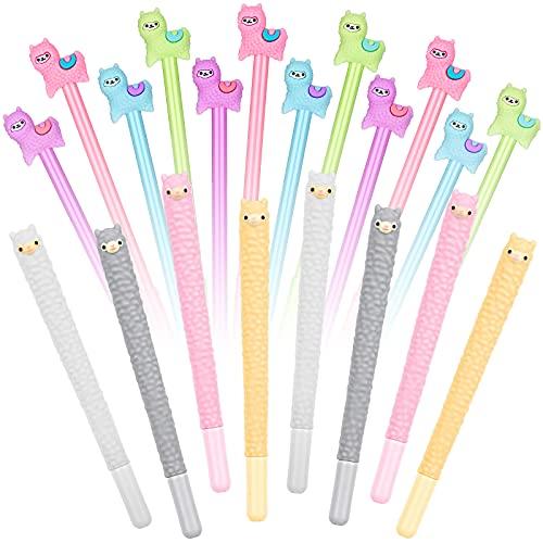 Cute Animal Pens Colorful Llama Pens Alpaca Gel Ink Pens Kawaii 0.5 mm Black Ink Pens Llama Stationery Supplies for School Classroom Office Students Present (20)