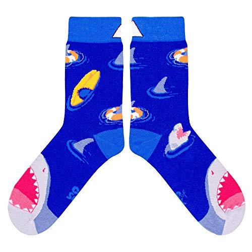 CUP OF SOX Herren Damen Lustige Socken mit Haien - Gemusterte Bunte Geschenk Socken aus hochwertige Baumwolle (Blau, 41-44)
