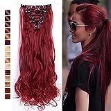 S-noilite 24' (60 cm) extensiones de cabello cabeza completa clip en extensiones de pelo Ombre ondulado rizado - Marrón mezcla rojo oscuro