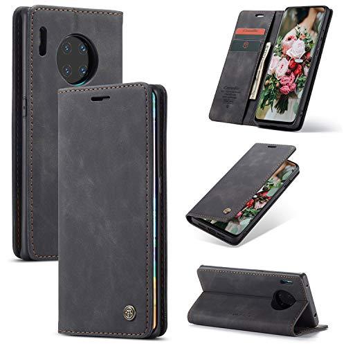 FMPC Handyhülle für Huawei Mate 30 Pro Premium Lederhülle PU Flip Magnet Hülle Wallet Klapphülle Silikon Bumper Schutzhülle für Huawei Mate 30 Pro Handytasche - Schwarz