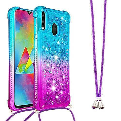 SIMao Funda con Cuerda para Samsung Galaxy M20 Funda Glitter Liquida con Cadena Brillante Gradiente Arena movediza Carcasa con Ajustable Cordón TPU Silicona Case con Collar de Cordón
