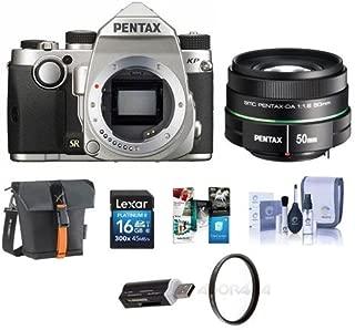 Pentax KP 24MP TTL Autofocus DSLR Camera Silver SMCP-DA 50mm f/1.8 Standard Lens - Bundle with 16GB SDHC Card, Holster Bag, Cleaning Kit, 52mm UV Filter, Card Reader, Software Package